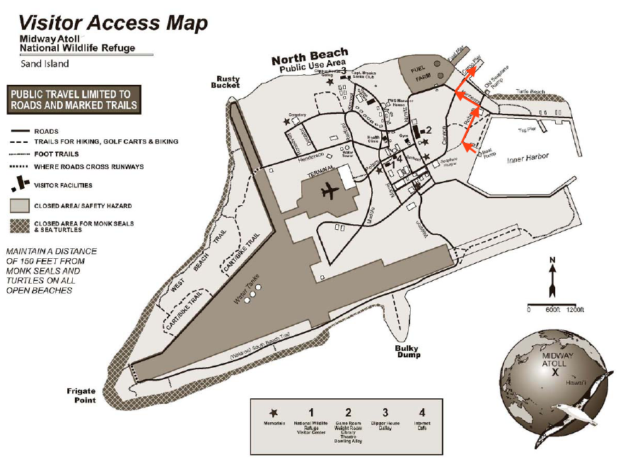 Midway, Atoll, Visitor, Access, Map