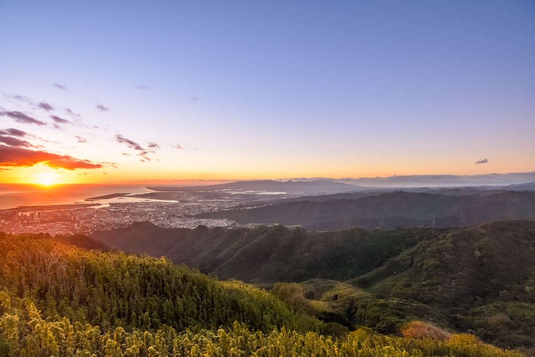 Hawaii, Oahu, Southshore, south, shore, lookout, vista, view, scenery, sunset, ocean, Island, Pacific