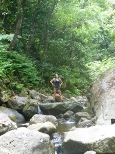 Sexy girl woman hawaii oahu jungle Kaipapau hiking valley stream waterfall falls