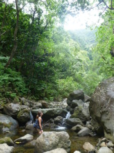 Kaipapau stream river valley falls waterfall hike trek oahu hawaii pretty girl jungle