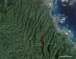 Oahu Hawaii hiking map google earth satellite imagery Kaipapau Forest Reserve