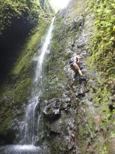 rappelling 7 seven falls Oahu Hawaii girl rock climbing hiking waterfall jungle