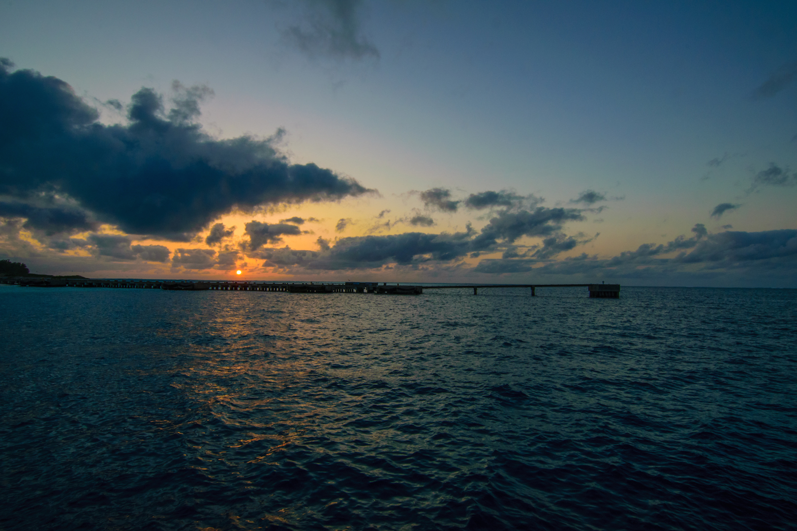 Midway, Atoll, fueling, Pier, Sunset