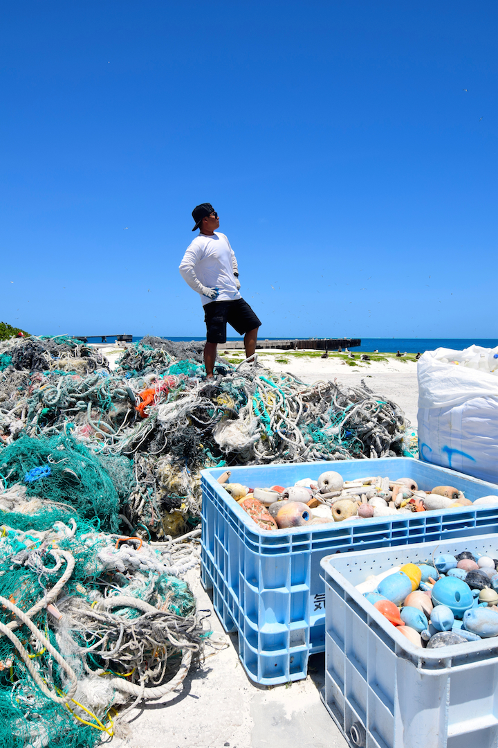 Midway, Atoll, Island, Northwestern, Hawaiian, beach, clean up, marine, debris, plastic, nets, floats, fishing, removal