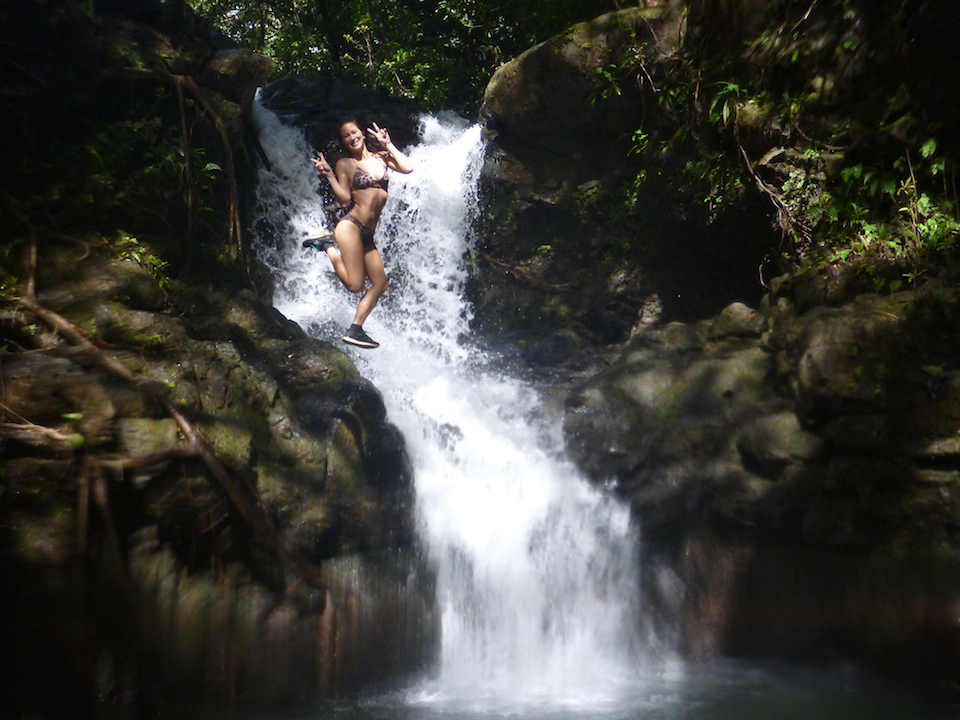 Kalauao, Falls, Aiea, Loop, Trail, junction, Oahu, Hawaii, Hike, Explore, Adventure, beautiful, girl, woman, waterfall, jumping, model