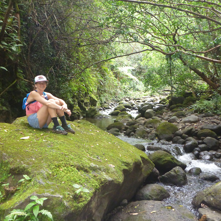 Koloa gulch, stream, river, creek, crossing, hike, girl, woman, chick, sitting on a rock