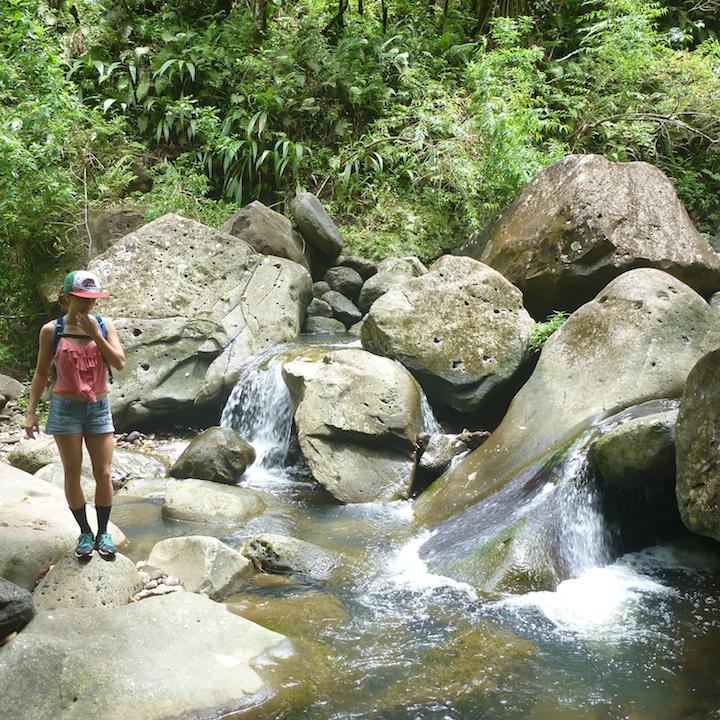 Koloa gulch, stream, river, creek, crossing, hike, girl, woman, chick, slippery rocks