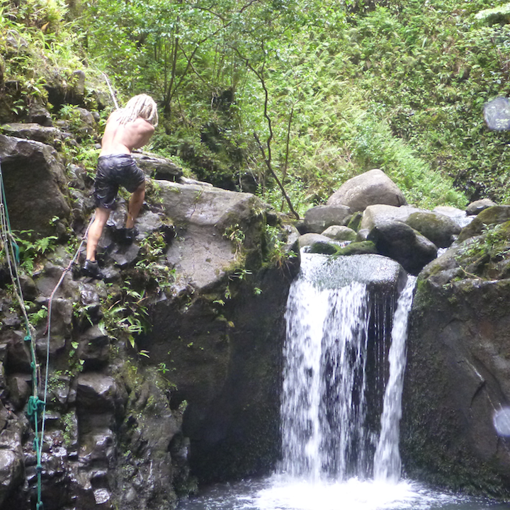 Koloa falls, gulch, Oahu, hawaii, hike, waterfall, climb, rock climb, rappel, ropes
