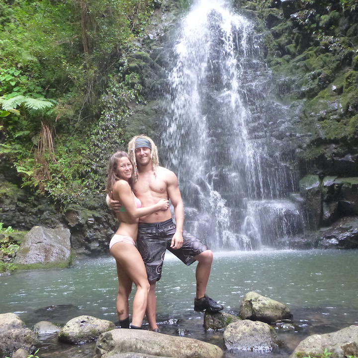 Oahu, Hawaii, Hikers, adventure, explore, couple, sexy, Koloa falls, waterfall