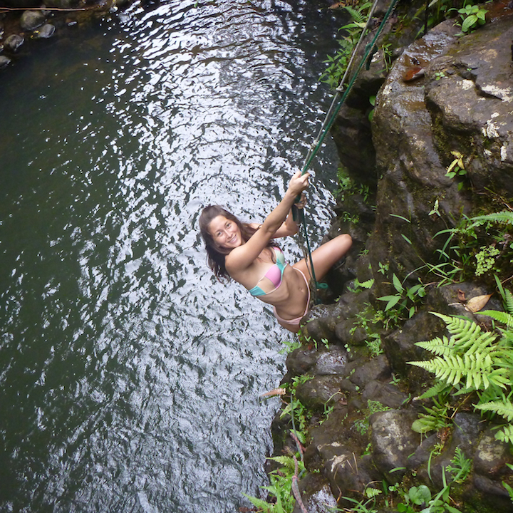 Koloa falls, gulch, Oahu, hawaii, hike, waterfall, climb, rock climb, rappel, ropes, girl, chick, woman, beautiful, gorgeous, bikini