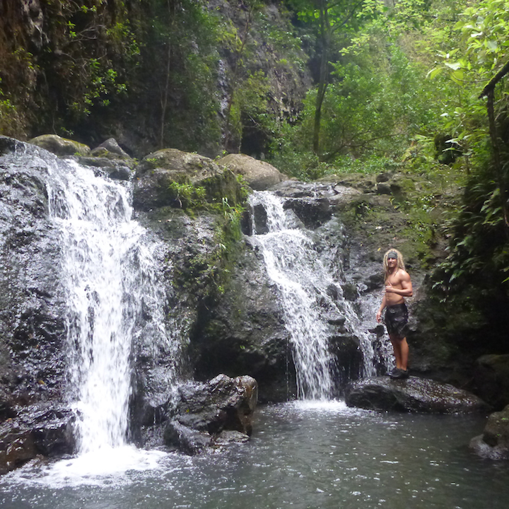 Oahu, Hawaii, Koloa falls, waterfall, left fork, hiker, rasta, dreads, dreadlocks