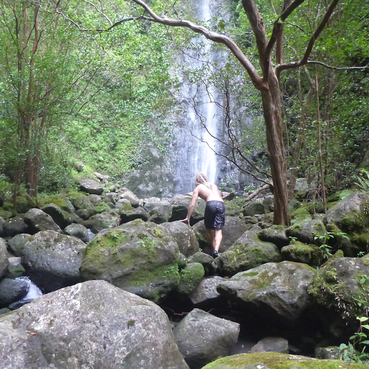 Koloa falls, Oahu, Hawaii, hike, rocks, trek, left fork
