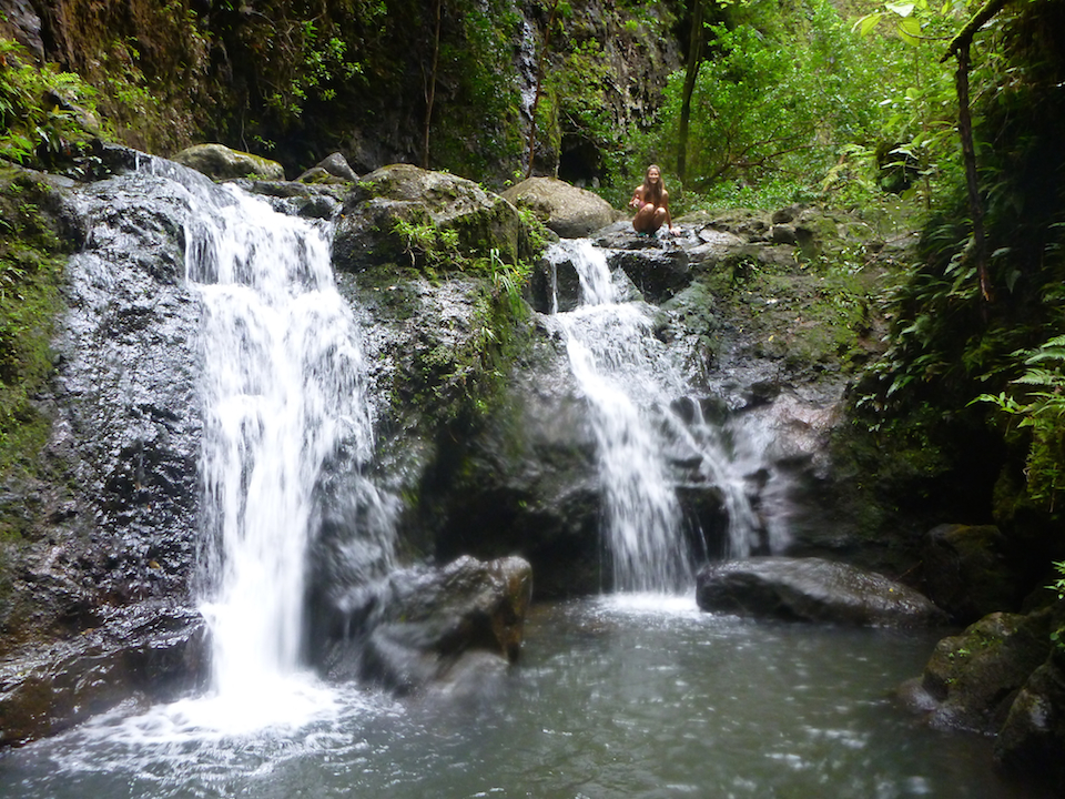 Oahu, Hawaii, Beautiful, waterfall, falls, hike, girl, chick, woman, Koloa, gulch, trek