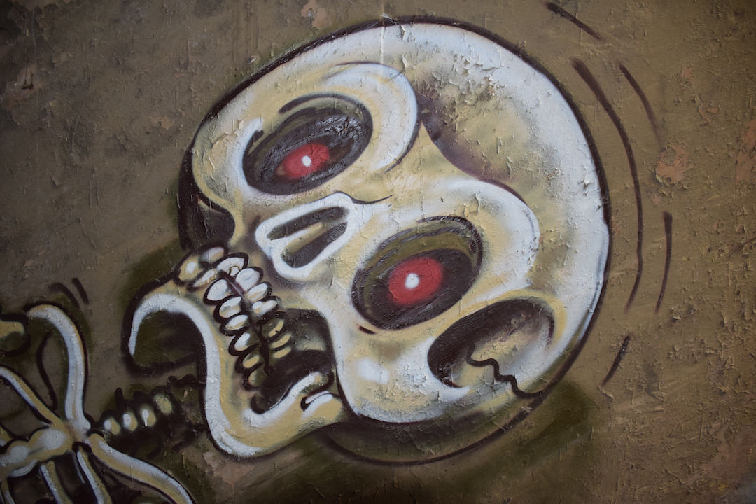 Skull, skeleton, tag, paint, art, graffiti