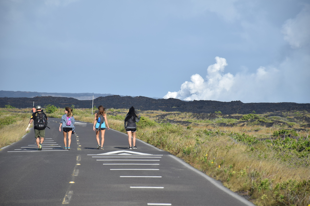 Hawaii, Big, Island, Lava, Flow, into, ocean, hike, trek, path, road, Kalapana, Volcanoes national park, eruption, Kilauea