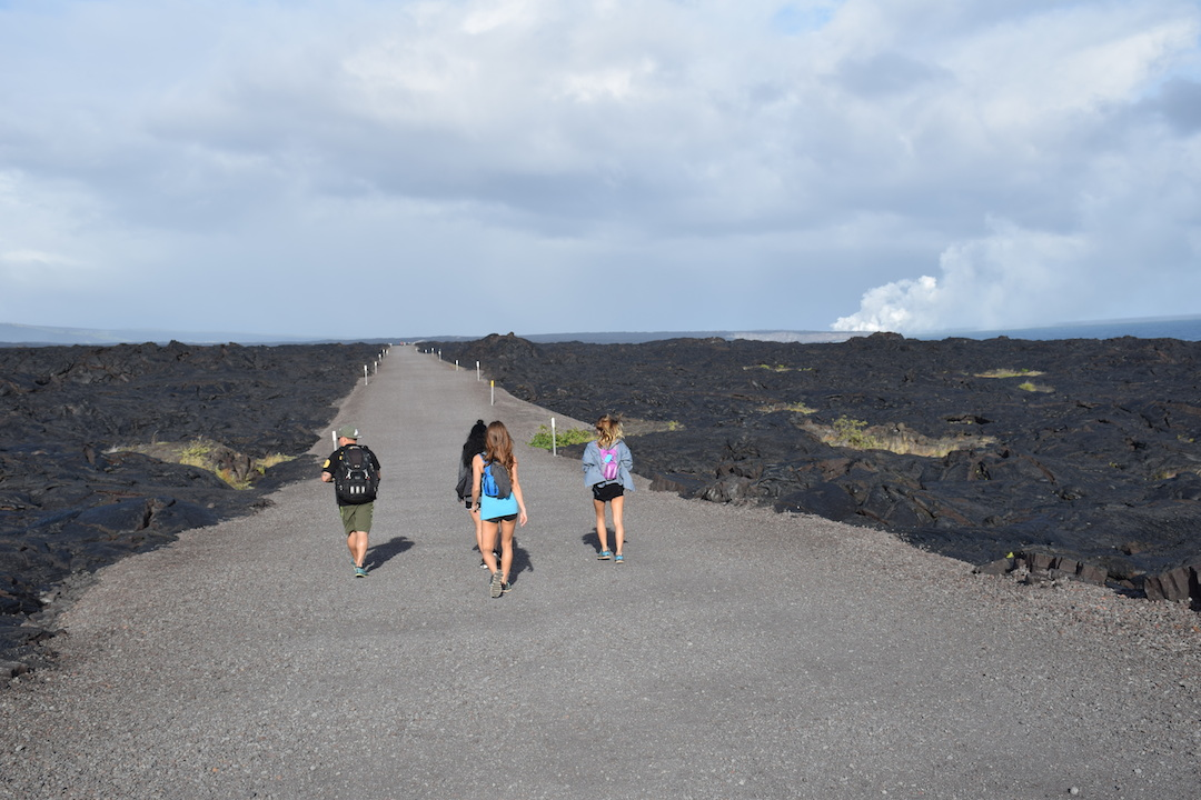 Hawaii, Big, Island, Lava, Flow, into, ocean, hike, trek, path, road, Kalapana, Volcanoes national park, eruption, gravel