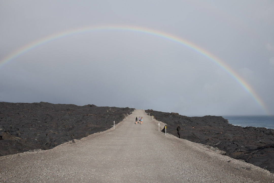 Hawaii, Big, Island, Lava, Flow, into, ocean, hike, trek, path, road, Kalapana, Volcanoes national park, eruption, trail, gravel, rainbow