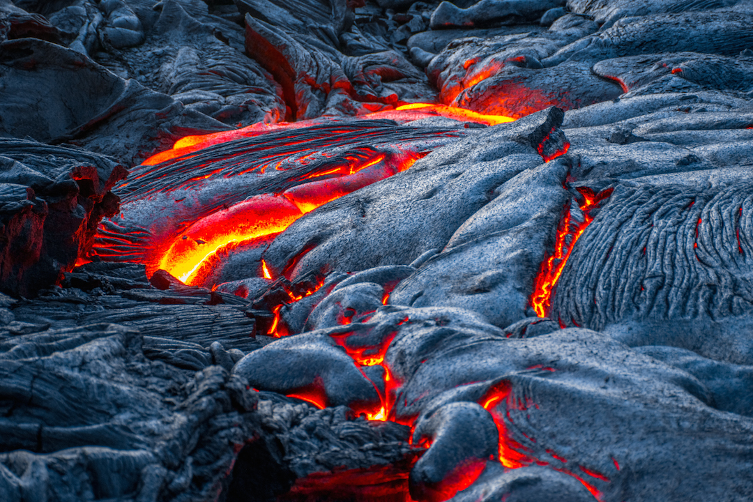 pele, Trek, hike, photography, adventure, exploration, Volcano, volcanoes national park, Hawaii, big, island, kilauea, kalapana, lava, dried, rock, igneous, magma, melting, hot, fire, eruption, 61g, east rift zone, surface, breakout, active, lava tube, glow, bright