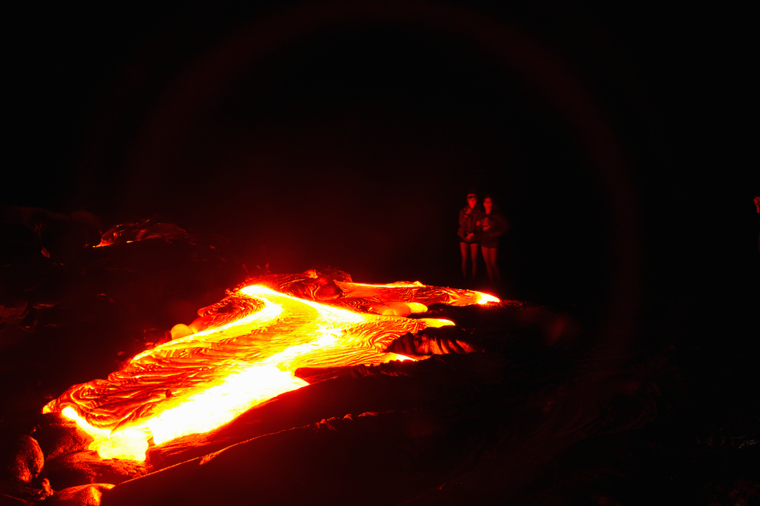 Trek, hike, photography, adventure, exploration, Volcano, volcanoes national park, Hawaii, big, island, kilauea, kalapana, lava, dried, rock, igneous, magma, melting, hot, fire, eruption, 61g, east rift zone, surface, breakout, active, lava tube, glow, bright, girls, photo