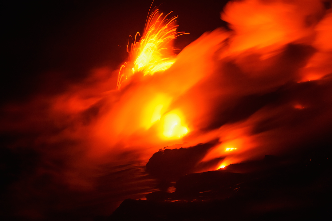 Trek, hike, photography, adventure, exploration, Volcano, volcanoes national park, Hawaii, big, island, kilauea, kalapana, lava, dried, rock, igneous, magma, melting, hot, fire, eruption, 61g, east rift zone, surface, breakout, active, lava tube, glow, bright, explosion, pele