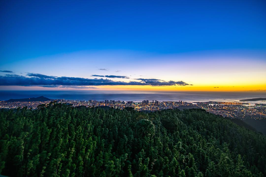Hawaii, Oahu, Southshore, south, shore, lookout, vista, view, scenery, sunset, ocean, Island, Pacific, dusk, diamond head, honolulu