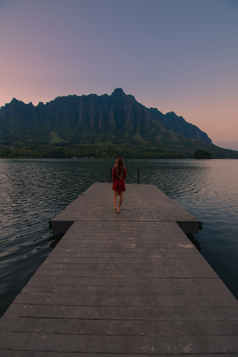 Oahu, Hawaii, Kaneohe, Bay, Windward, secret, hidden, beach, island, dock, red dress, nymph, woman, photography, sunset, fishpond, Apua, Molii
