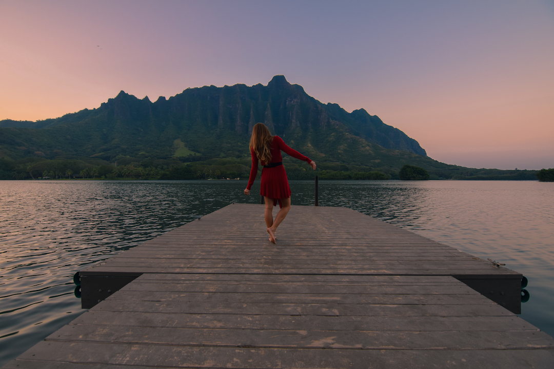 Oahu, Hawaii, Kaneohe, Bay, Windward, secret, hidden, beach, island, dock, red dress, nymph, woman, photography, sunset, fishpond, Apua, Molii, dancing