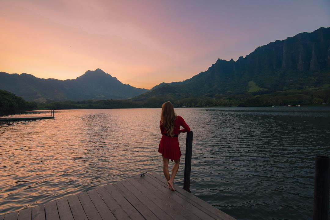 Oahu, Hawaii, Kaneohe, Bay, Windward, secret, hidden, beach, island, dock, red dress, nymph, woman, photography, sunset, fishpond, Apua, Molii