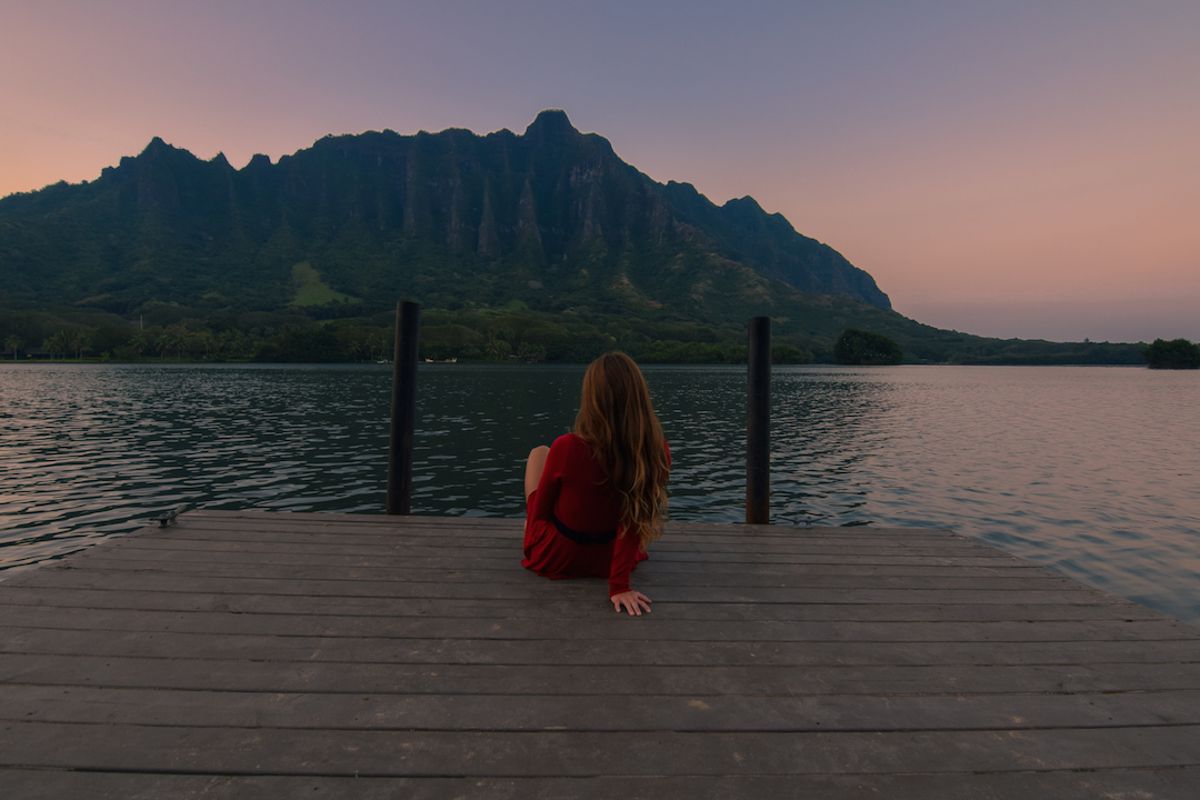 Oahu, Hawaii, Kaneohe, Bay, Windward, secret, hidden, beach, island, dock, red dress, nymph, woman, photography, sunset, fishpond, Apua, Molii, pondering, thinking, resting, contemplating