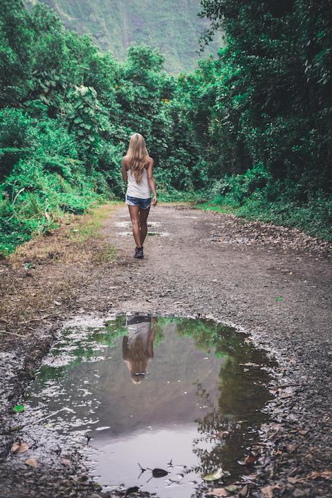 Hamama, Waihehe, Falls, Waterfall, Oahu, Hike, Adventure, Explore, lone, girl, walking, mountains, Koolau, Kaneohe