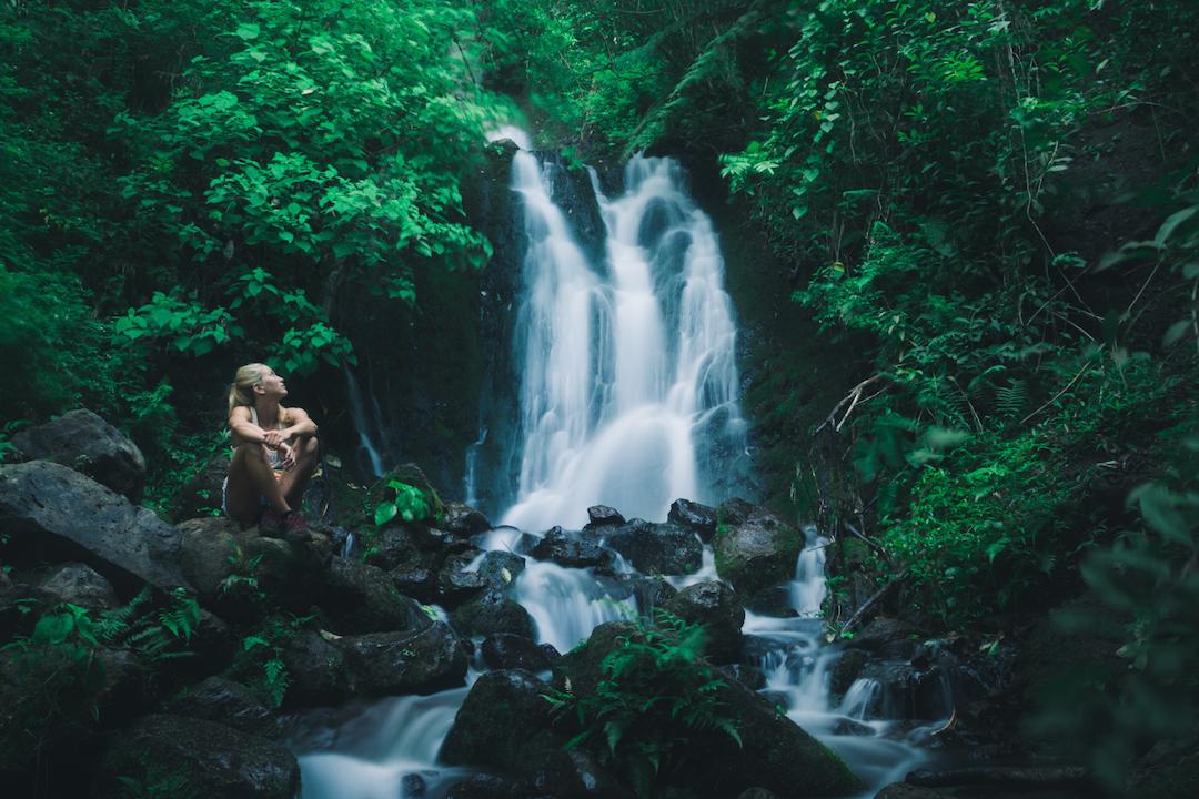 Waihe'e, Falls, waterfall, Oahu, Kaneohe, Hawaii, Hike, Koolau, forest, jungle, girl, nymph, long exposure